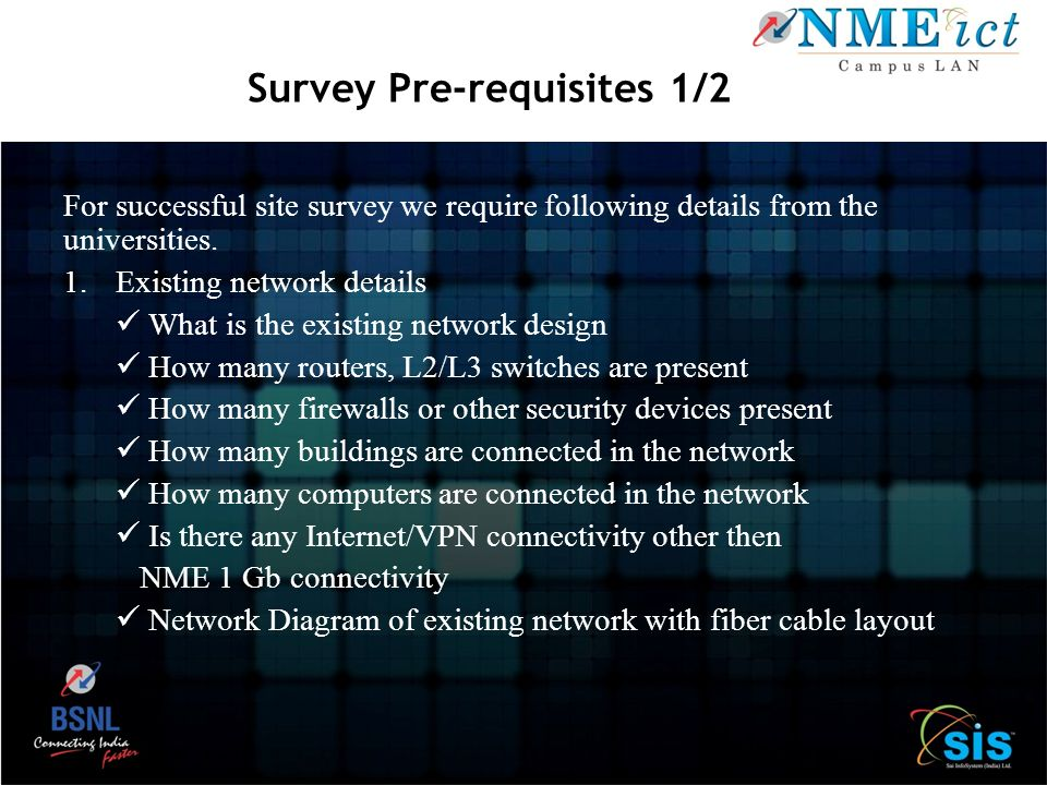 Survey Pre-requisites 1/2
