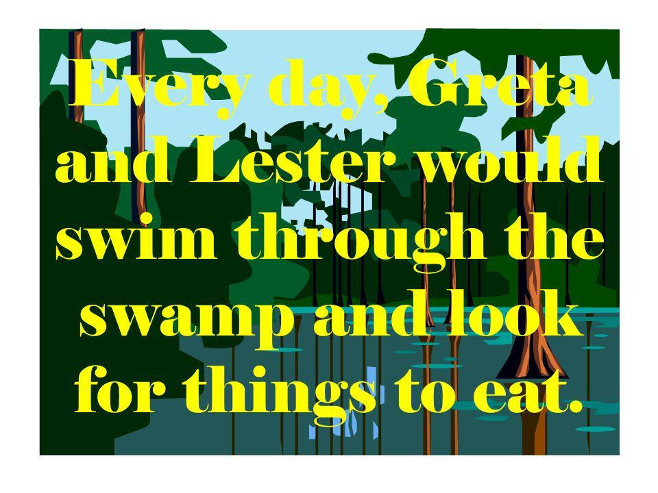 Every day, Greta and Lester would swim through the swamp and look for things to eat.