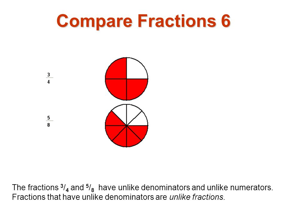 Compare Fractions 6