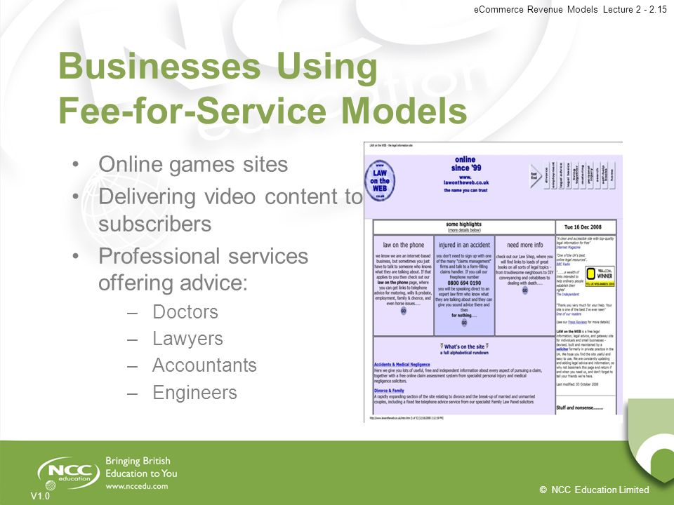 Businesses Using Fee-for-Service Models
