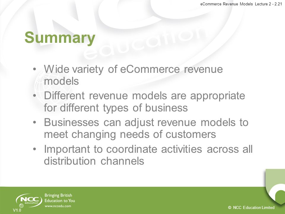 Summary Wide variety of eCommerce revenue models