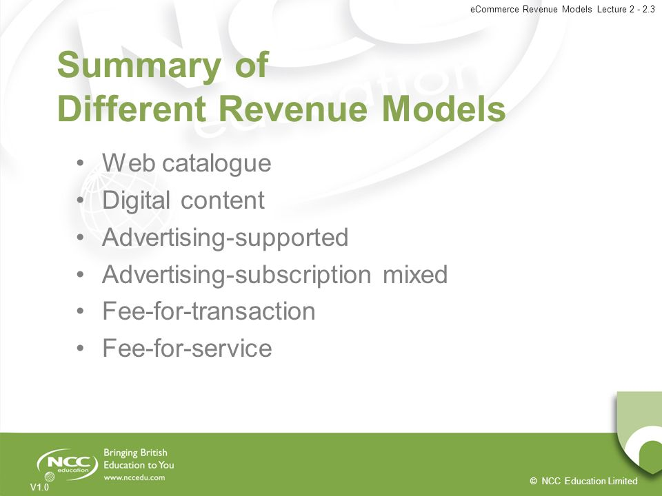 Summary of Different Revenue Models