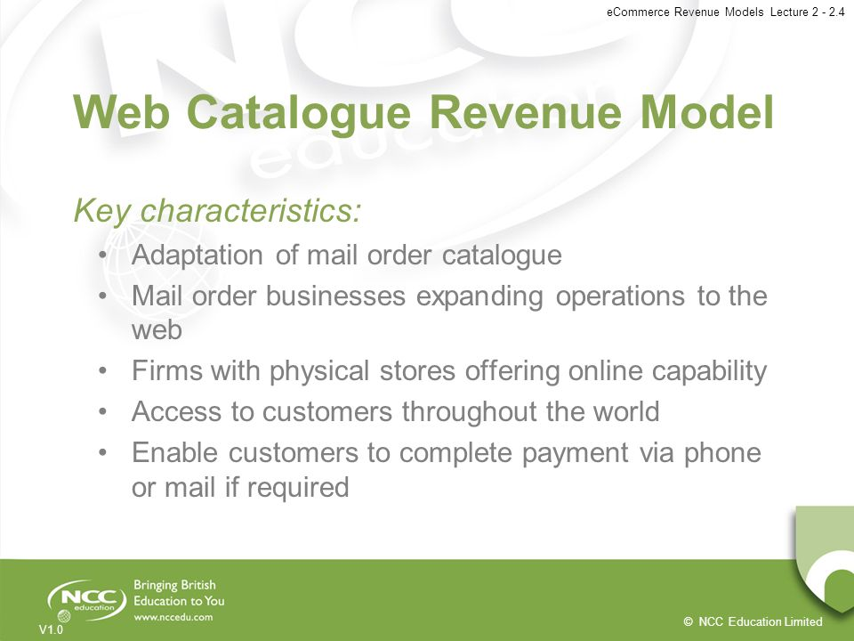 Web Catalogue Revenue Model