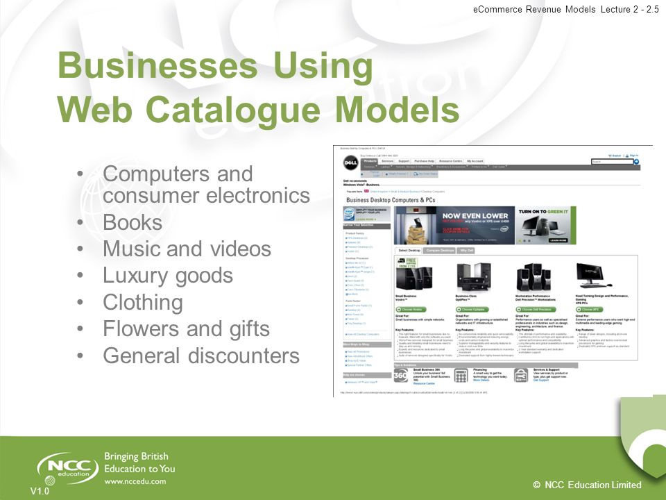 Businesses Using Web Catalogue Models