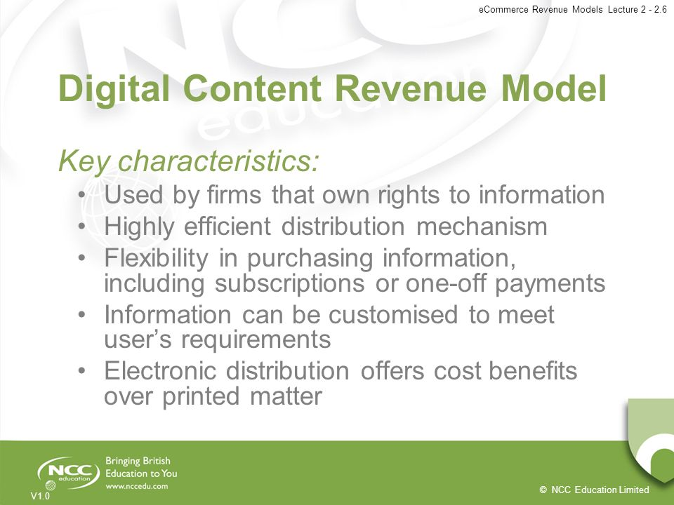 Digital Content Revenue Model