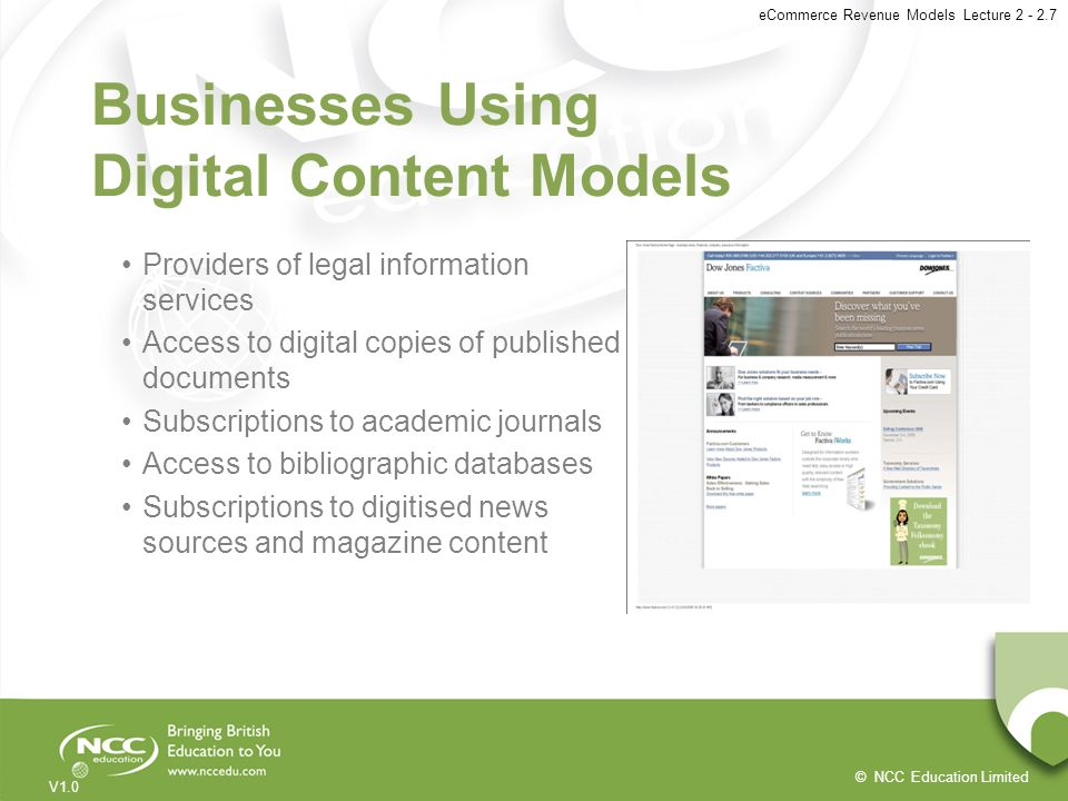 Businesses Using Digital Content Models