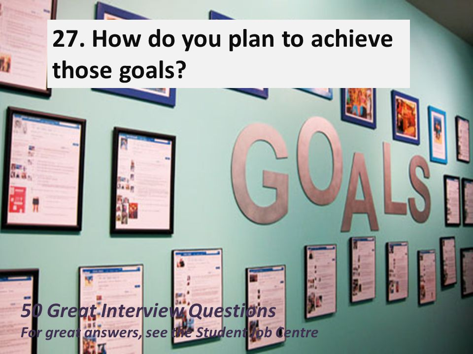 27)How do you plan to achieve those goals
