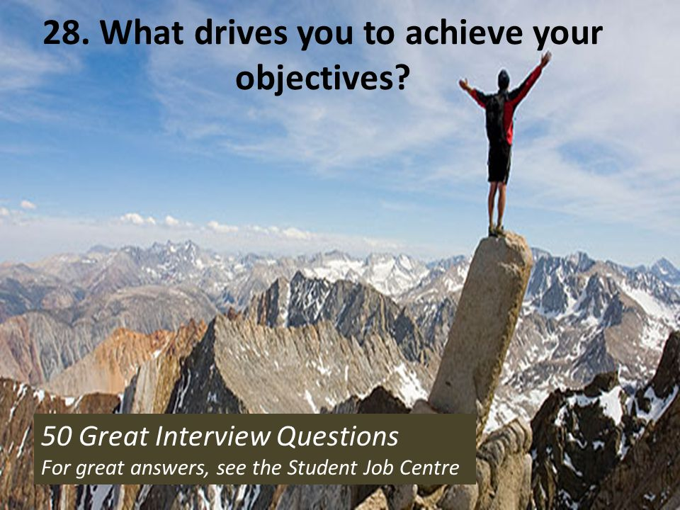 28. What drives you to achieve your objectives