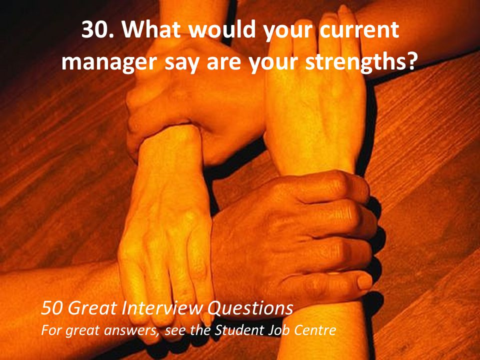 30. What would your current manager say are your strengths