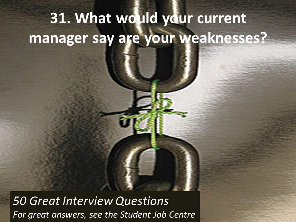 31. What would your current manager say are your weaknesses