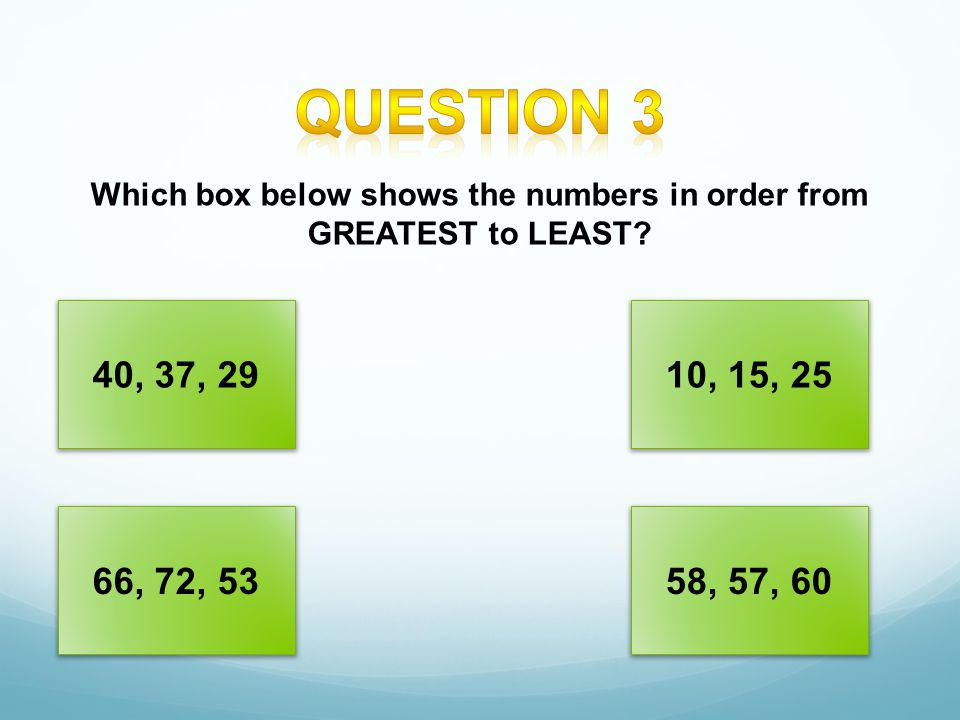 Which box below shows the numbers in order from GREATEST to LEAST