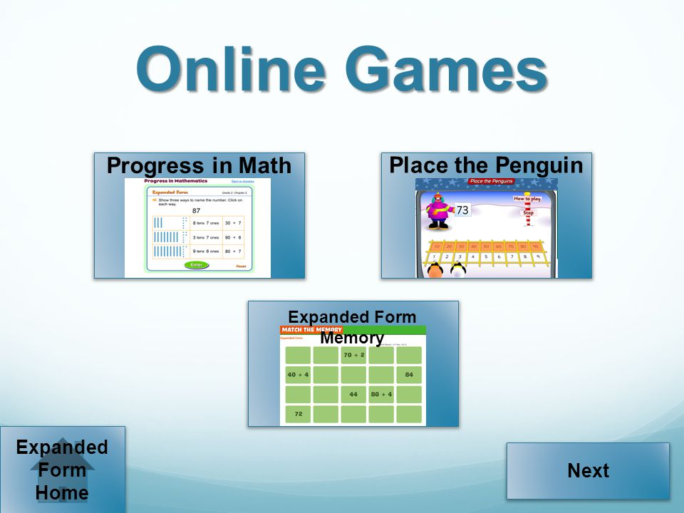 Online Games Progress in Math Place the Penguin Expanded Form Next