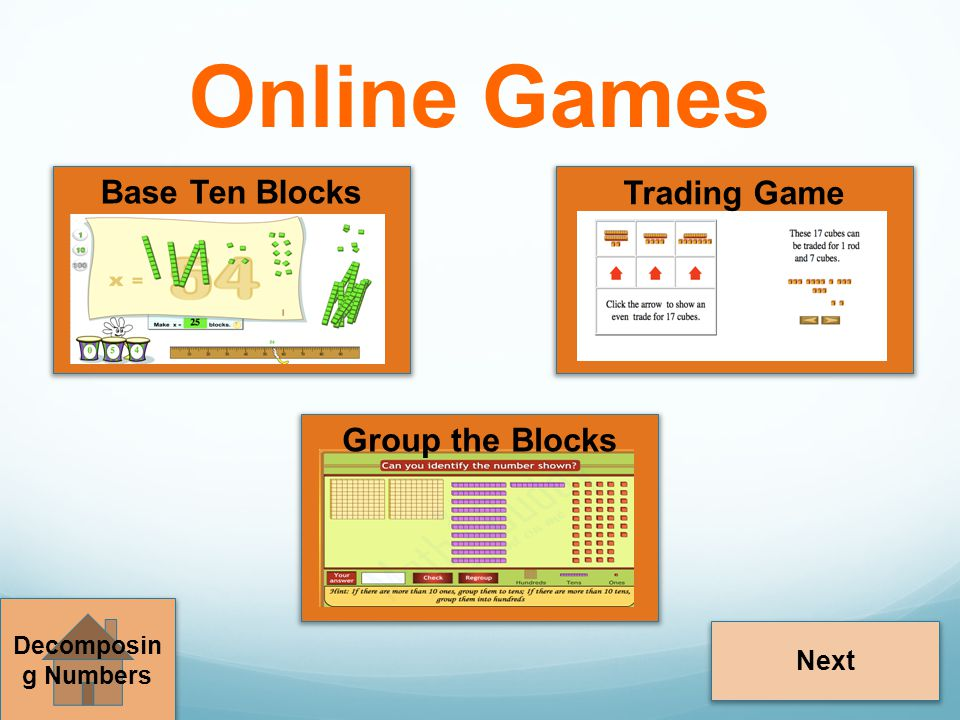 Online Games Base Ten Blocks Trading Game Group the Blocks Next