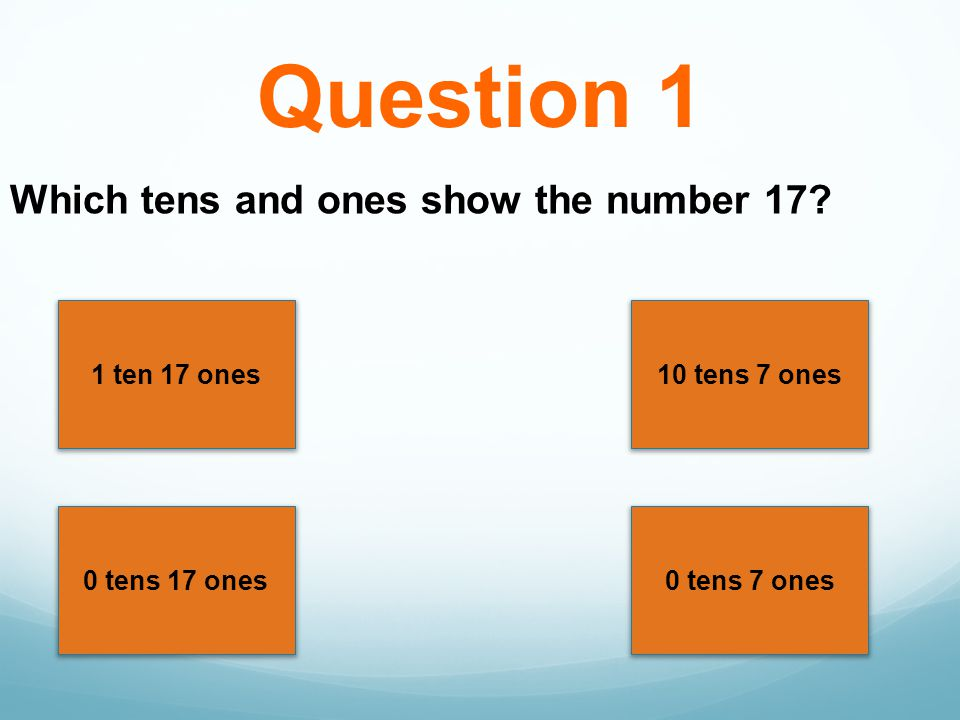 Question 1 Which tens and ones show the number 17 1 ten 17 ones