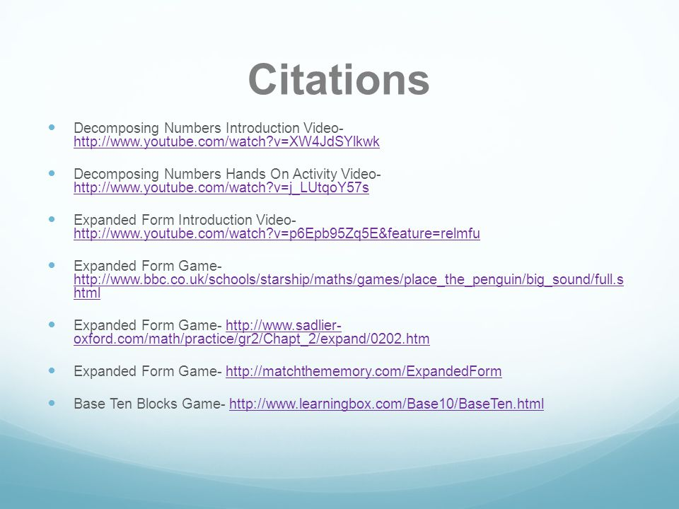 Citations Decomposing Numbers Introduction Video- http://www.youtube.com/watch v=XW4JdSYlkwk.