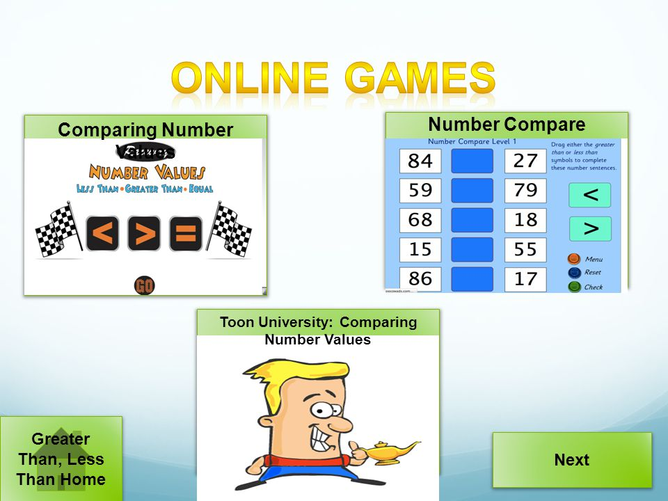 Online Games Number Compare Comparing Number Values