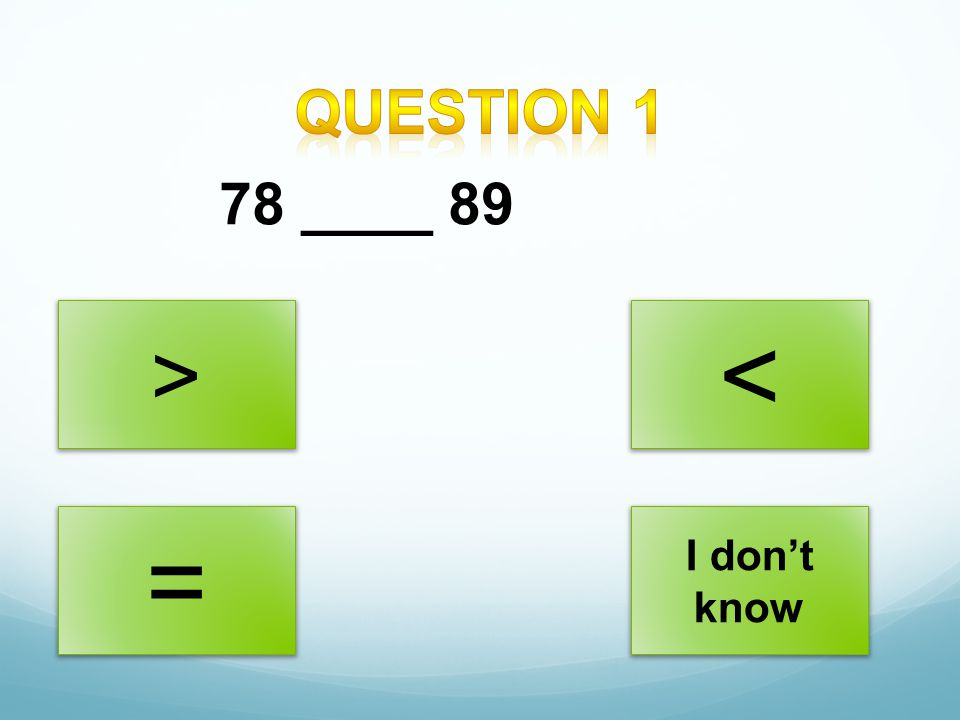 Question 1 78 ____ 89 > < = I don't know