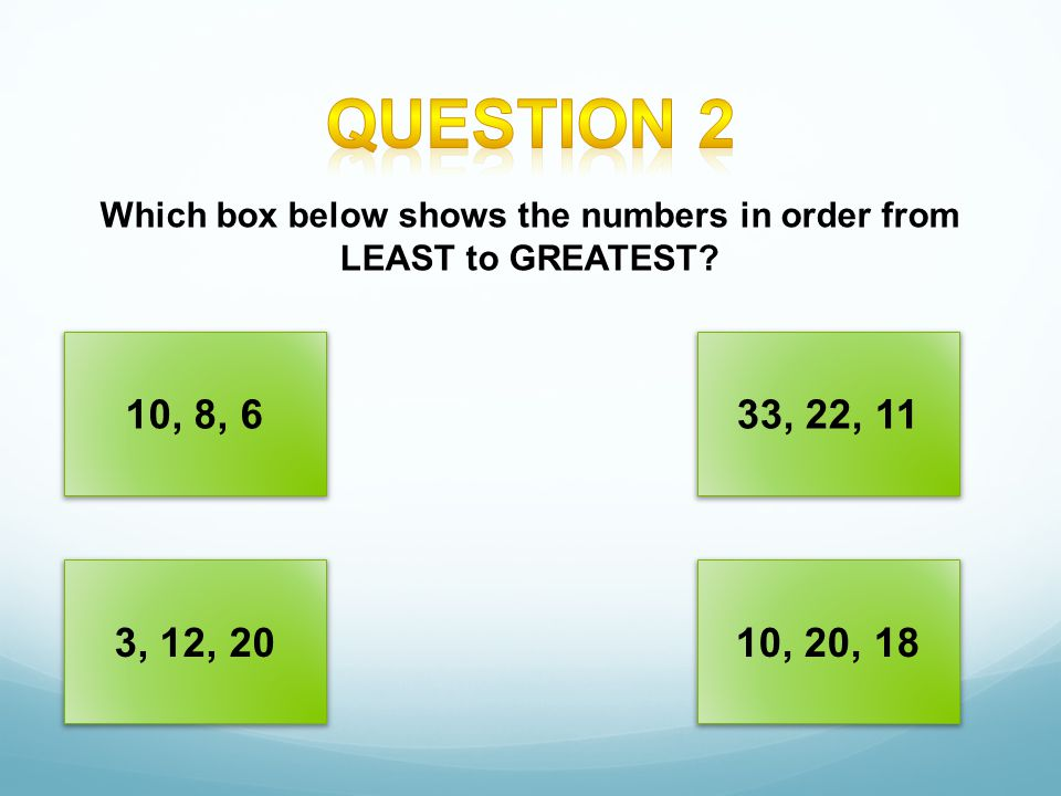 Which box below shows the numbers in order from LEAST to GREATEST