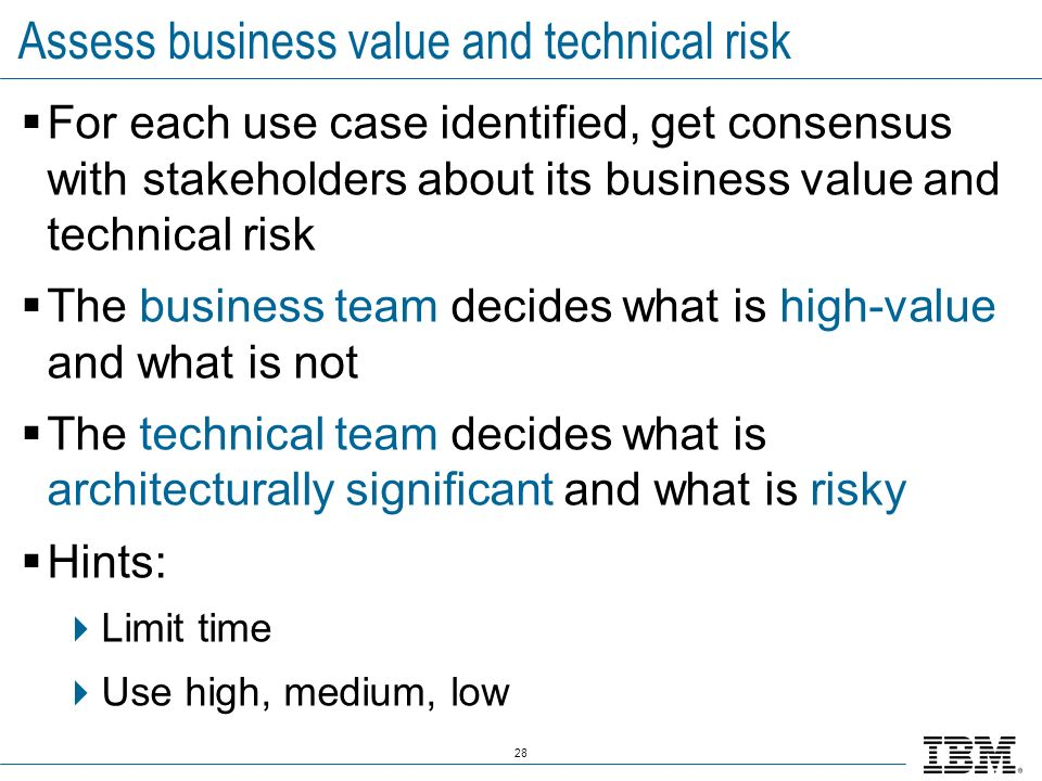 Assess business value and technical risk