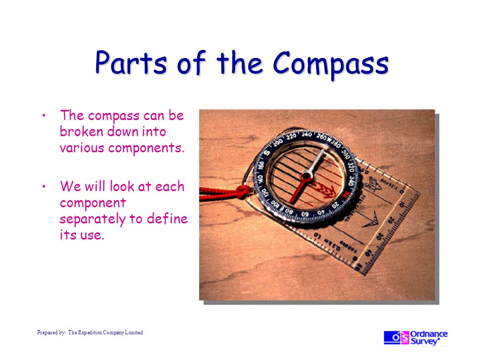 Parts of the Compass The compass can be broken down into various components. We will look at each component separately to define its use.
