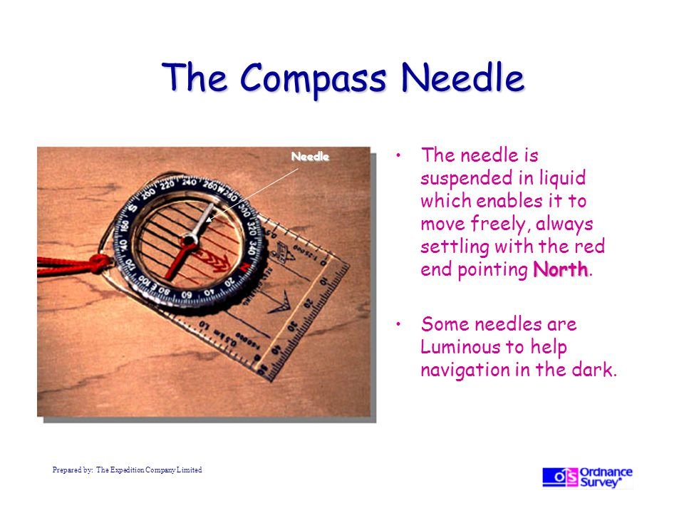 The Compass Needle The needle is suspended in liquid which enables it to move freely, always settling with the red end pointing North.