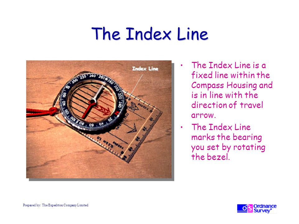 The Index Line The Index Line is a fixed line within the Compass Housing and is in line with the direction of travel arrow.