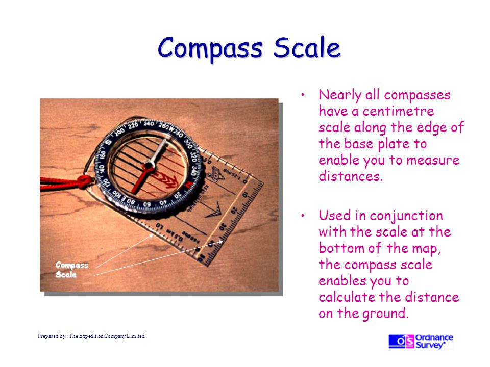 Compass Scale Nearly all compasses have a centimetre scale along the edge of the base plate to enable you to measure distances.
