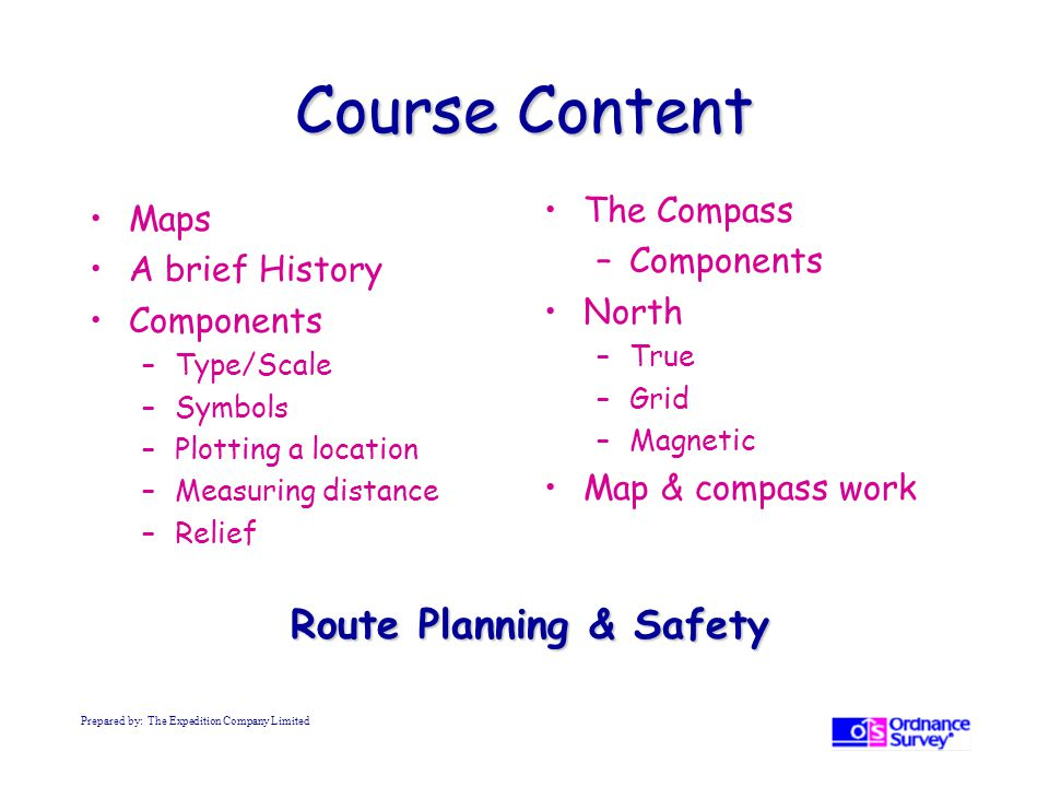 Course Content Route Planning & Safety The Compass Maps Components