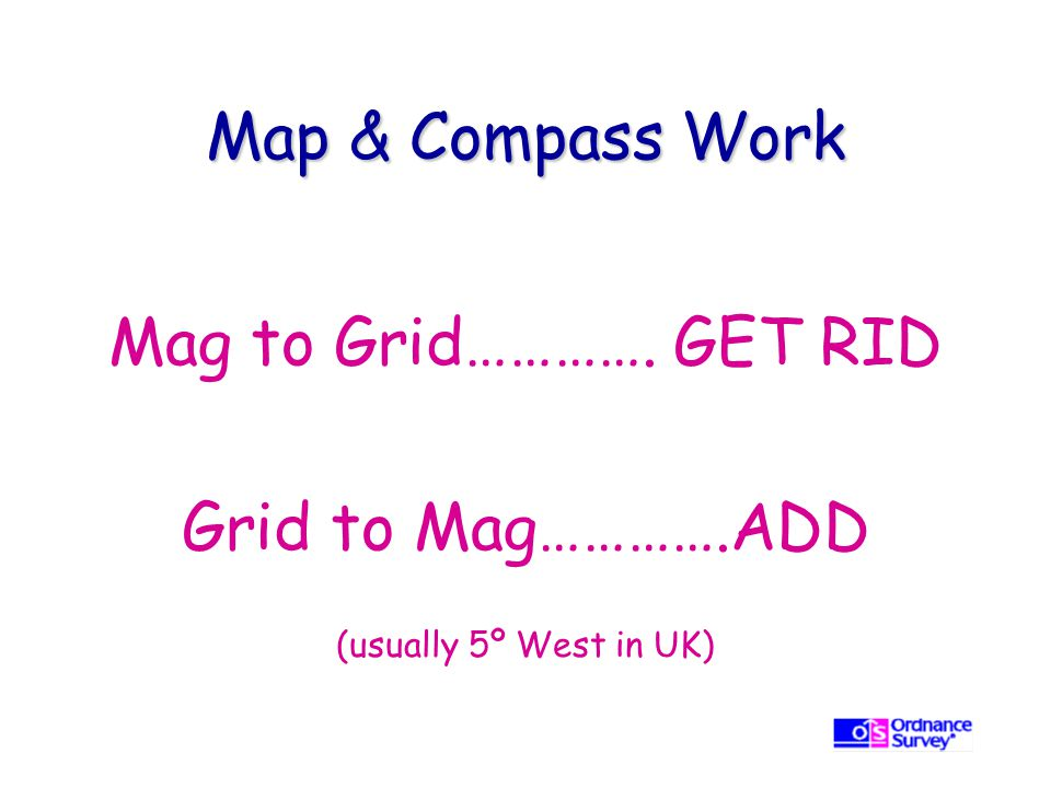 Map & Compass Work Mag to Grid…………. GET RID Grid to Mag………….ADD