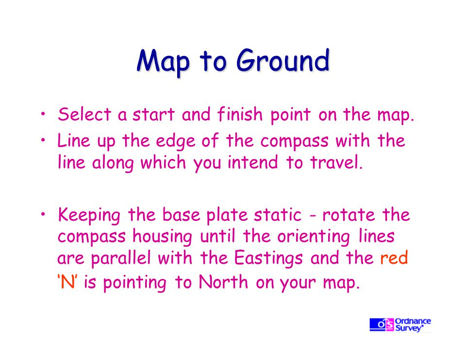 Map to Ground Select a start and finish point on the map.