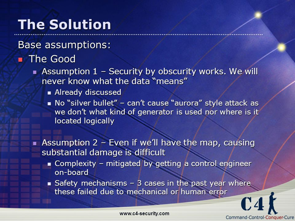 The Solution Base assumptions: The Good