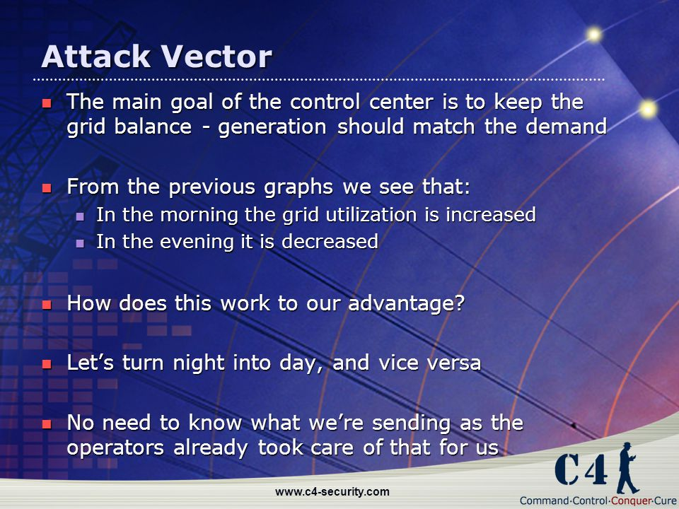 Attack Vector The main goal of the control center is to keep the grid balance - generation should match the demand.