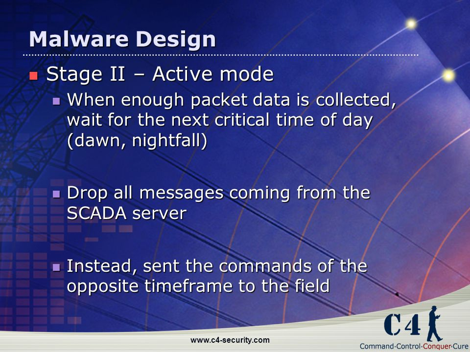 Malware Design Stage II – Active mode