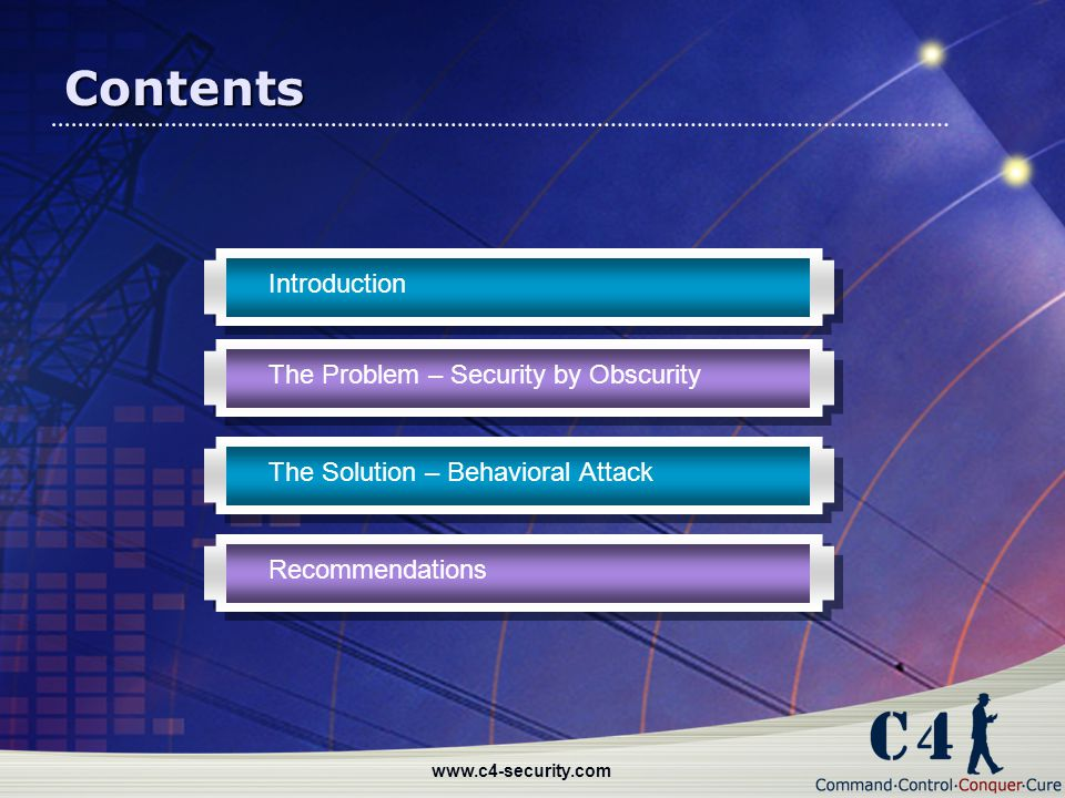 Contents Introduction The Problem – Security by Obscurity