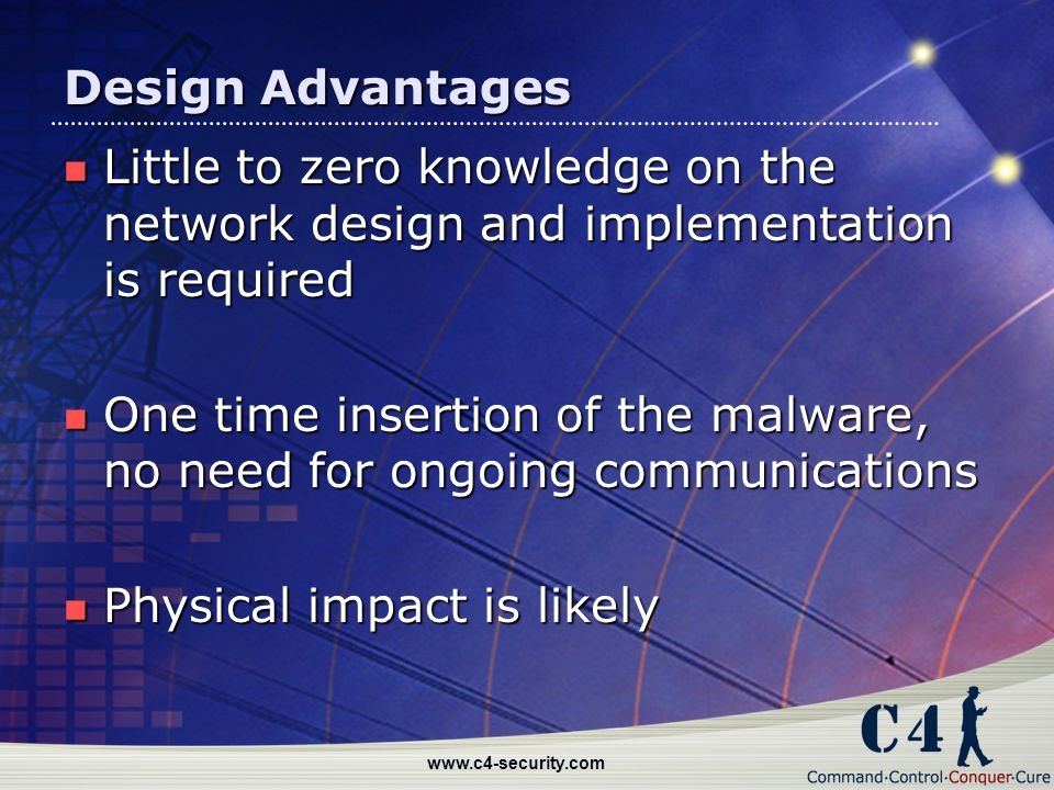 One time insertion of the malware, no need for ongoing communications