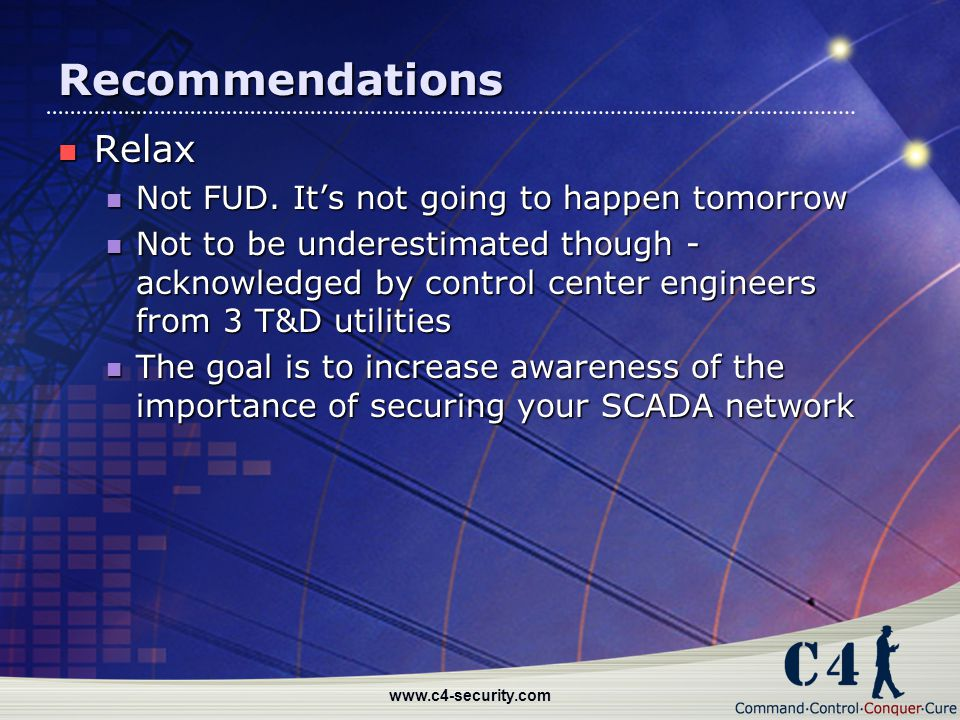 Recommendations Relax Not FUD. It's not going to happen tomorrow