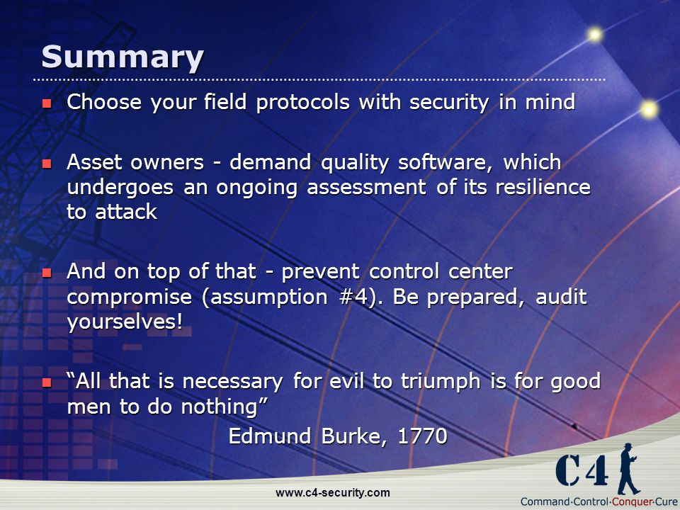 Summary Choose your field protocols with security in mind