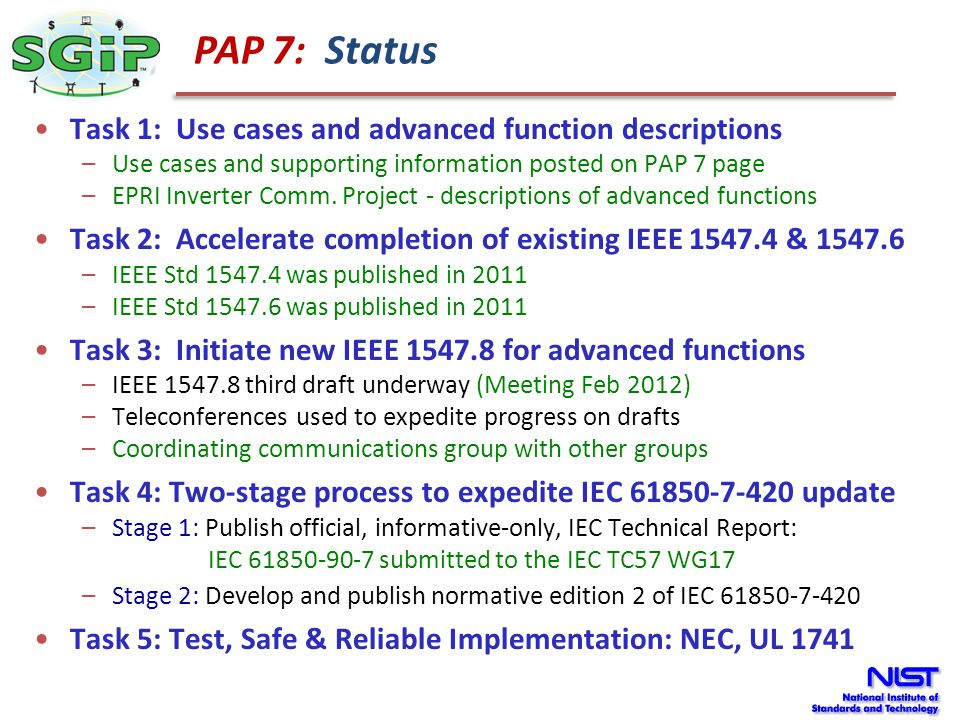 PAP 7: Status Task 1: Use cases and advanced function descriptions