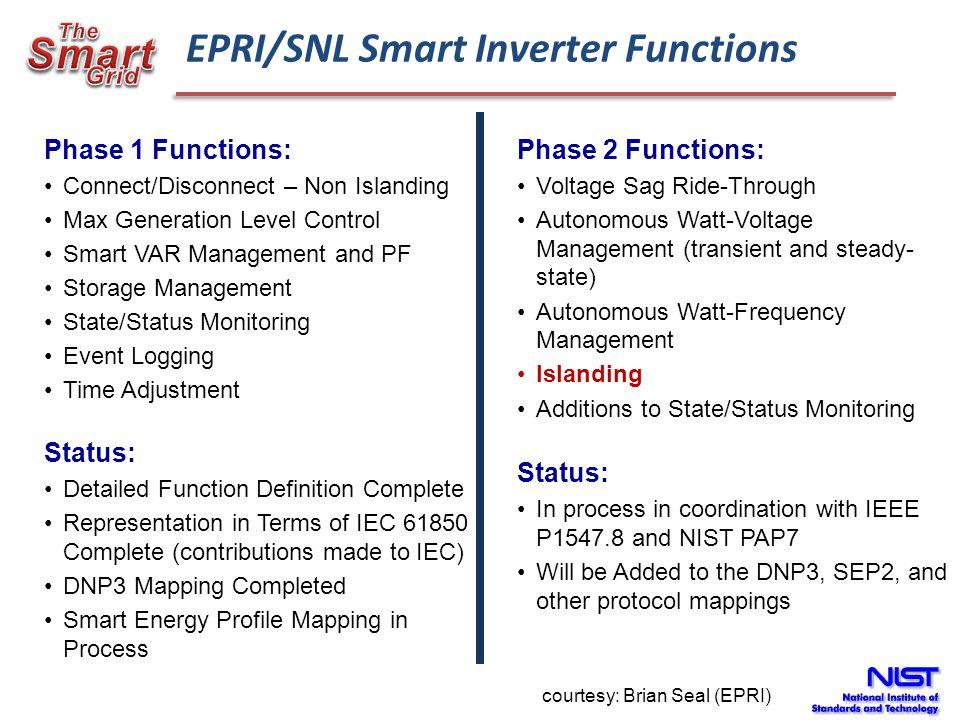 EPRI/SNL Smart Inverter Functions