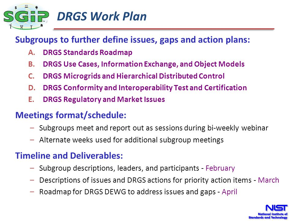 DRGS Work Plan Subgroups to further define issues, gaps and action plans: DRGS Standards Roadmap.