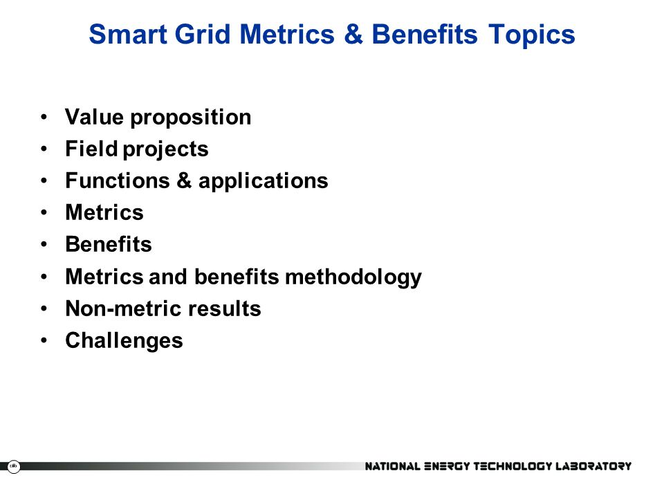 Smart Grid Metrics & Benefits Topics