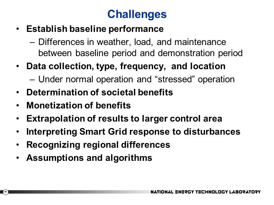 Challenges Establish baseline performance