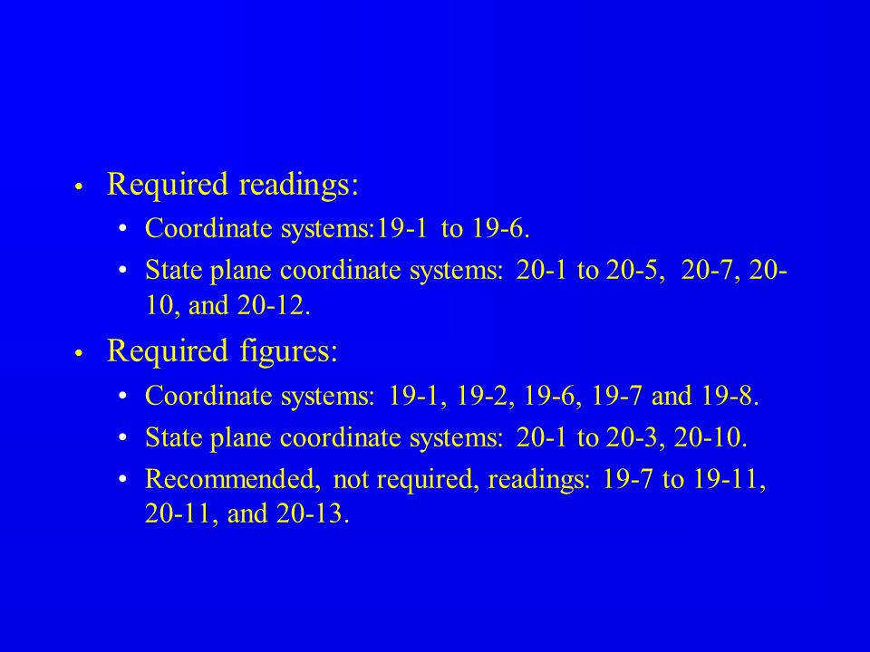 Required readings: Required figures: Coordinate systems:19-1 to 19-6.