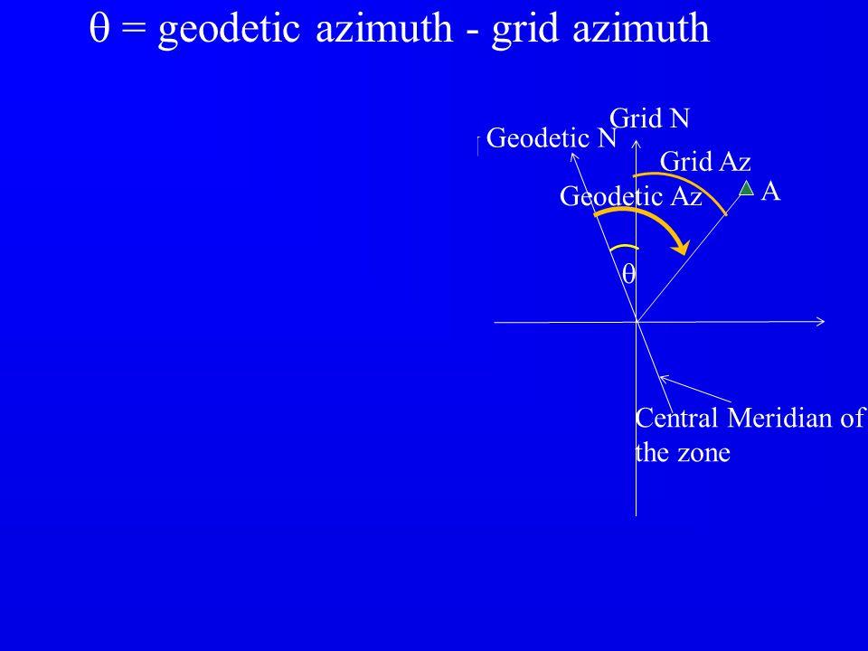 q q q = geodetic azimuth - grid azimuth Grid N Grid N B Geodetic N