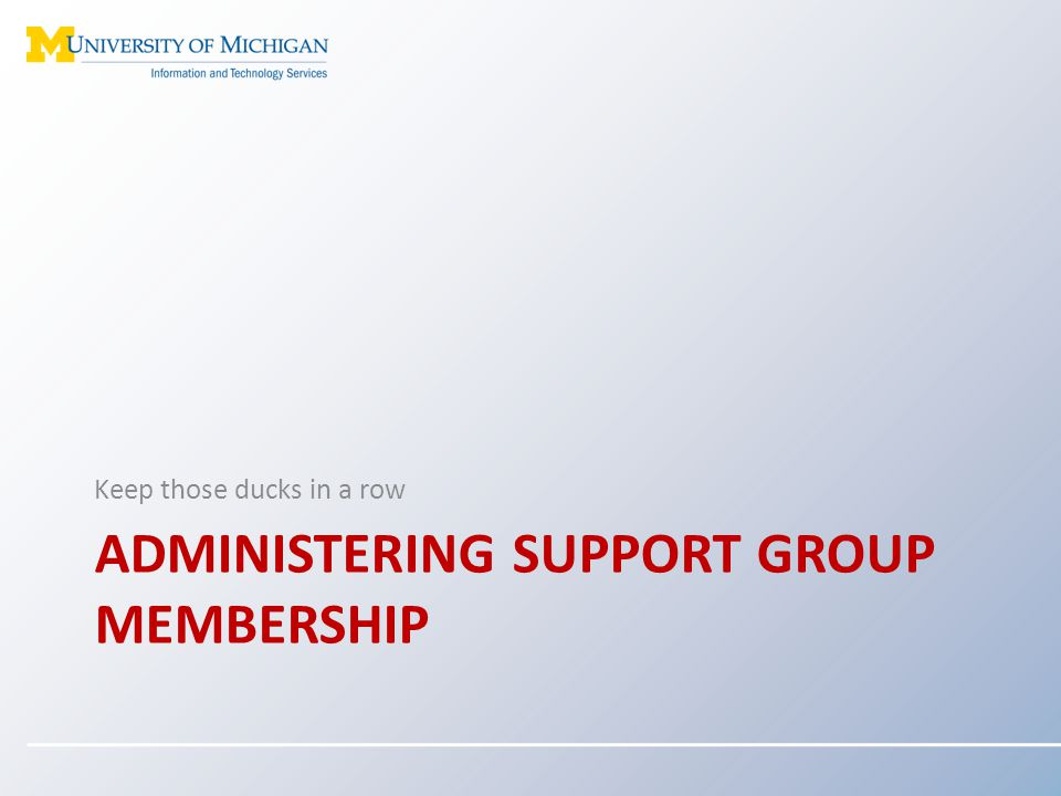 Administering support group membership