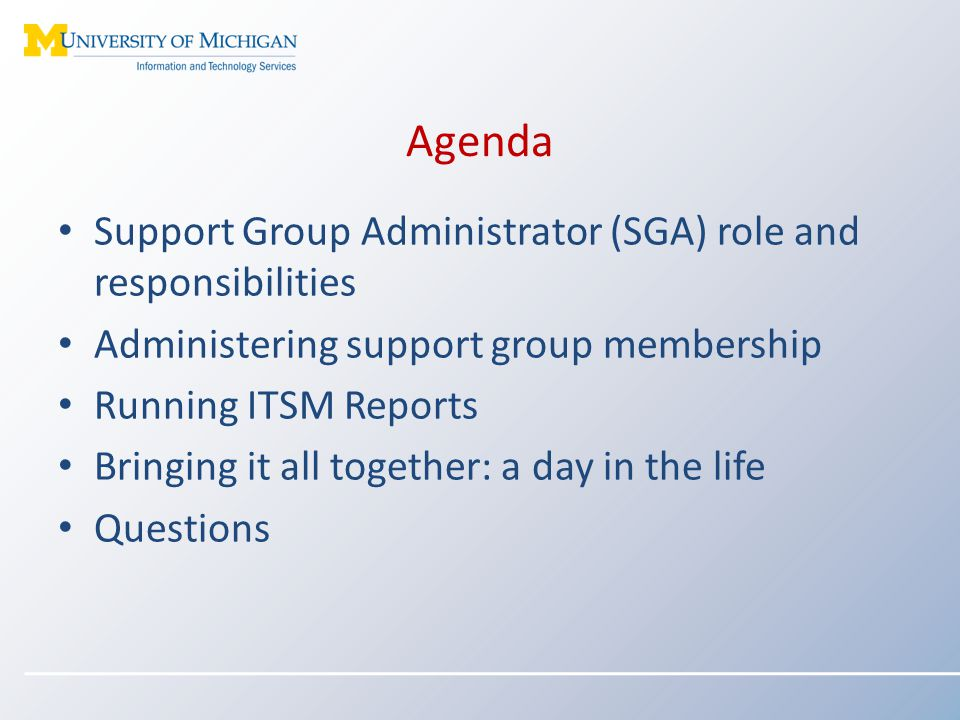 Agenda Support Group Administrator (SGA) role and responsibilities