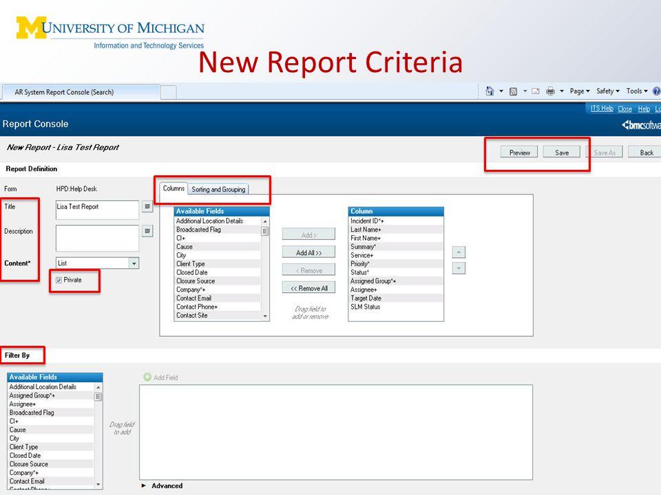 New Report Criteria