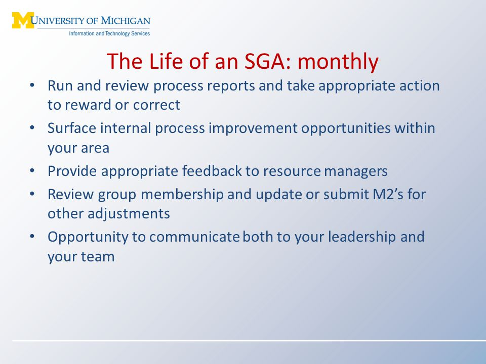 The Life of an SGA: monthly