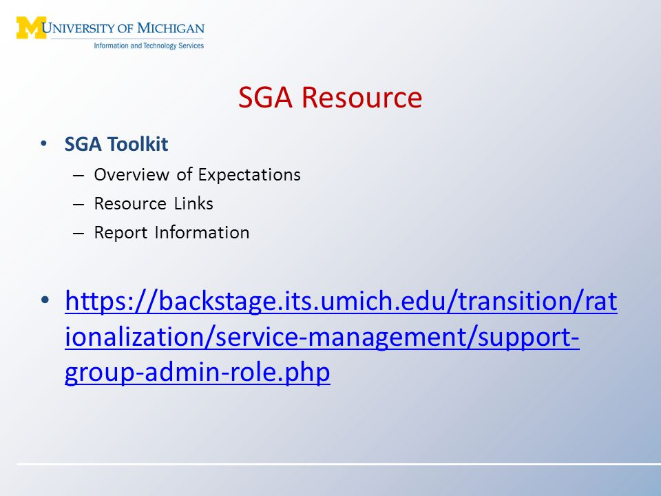 SGA Resource SGA Toolkit. Overview of Expectations. Resource Links. Report Information.