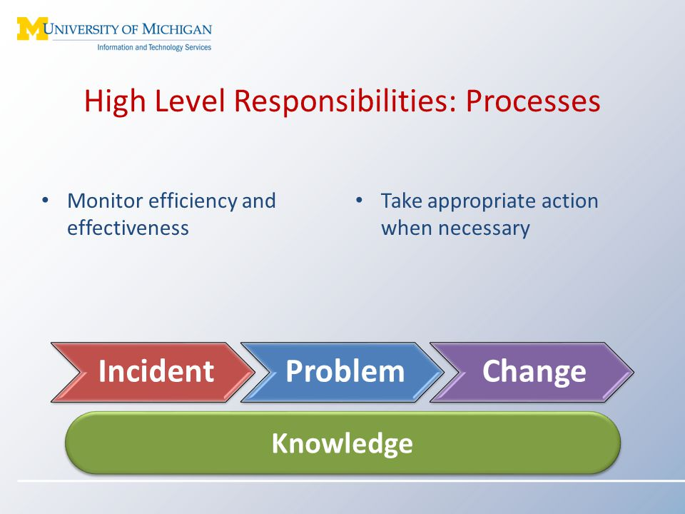 High Level Responsibilities: Processes